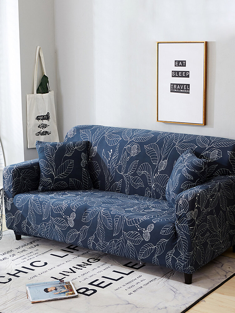 Blue Leaves Sofa Cushion Cover Easy Stretch Slipcover Protector Couch