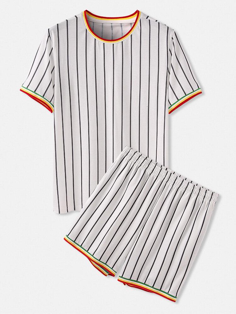 男性のためのOネック居心地の良いパッチワークストライプパジャマ半袖ホームラウンジウェア