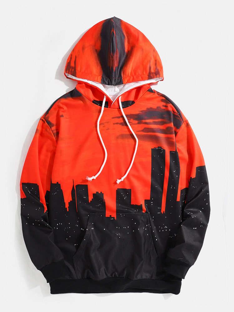 Mens 3D Printed City Sunset Clow All Over Printed Casual Drawstring Hoodies