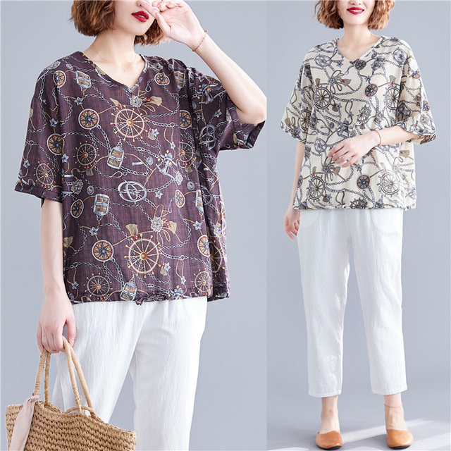 National_Style_Light_And_Breathable_Cotton_And_Linen_Shirt_Mother_Loaded_New_Retro_Printing_Large_Size_Womens_Shirt_Tid