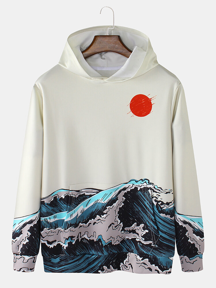 Mens Sun Waves Landscape Print Japanese Style Daily Pullover Hoodie With Kangaroo Pocket