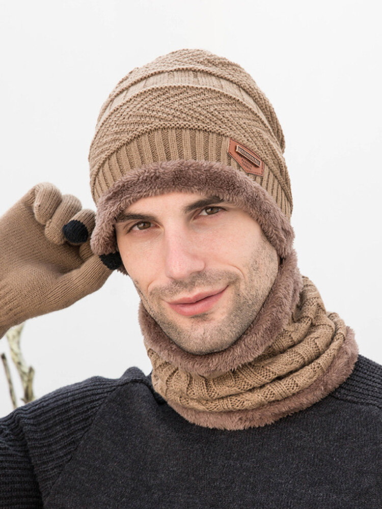 Men 3PCS Solid Color Keep Warm Sets Fashion Casual Wool Hat Beanie Scarf Full-finger Gloves