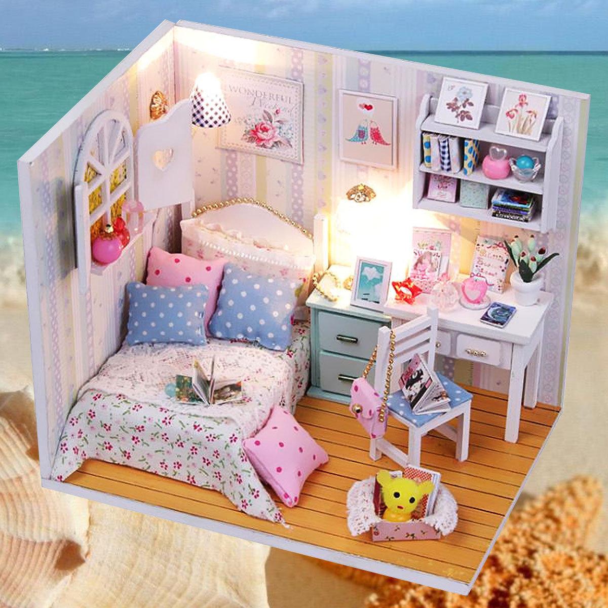 एलईडी फर्नीचर कवर गुड़िया हाउस रूम के साथ हूमेड़ा स्वीट टाइम DIY डॉलहाउस लघु