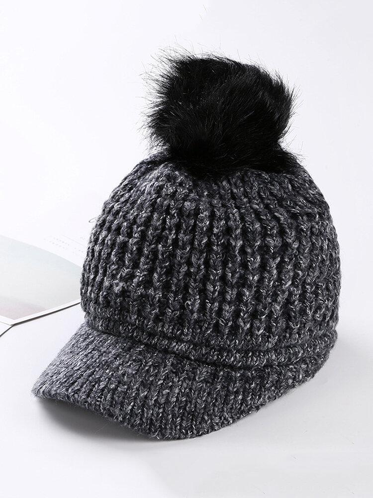 Women Pompom Knitted Baseball Cap Casual Winter Warm Plush Lining Woolen Caps