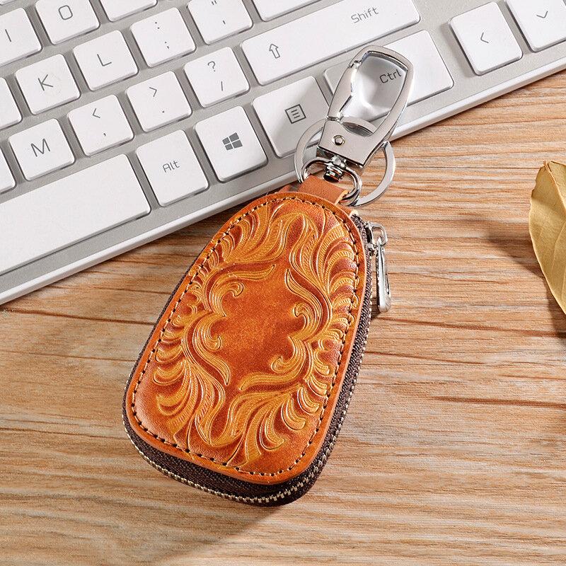 Vintage Genuine Leather Car Key Holder Key Bag Keychain Wallet For Men Women