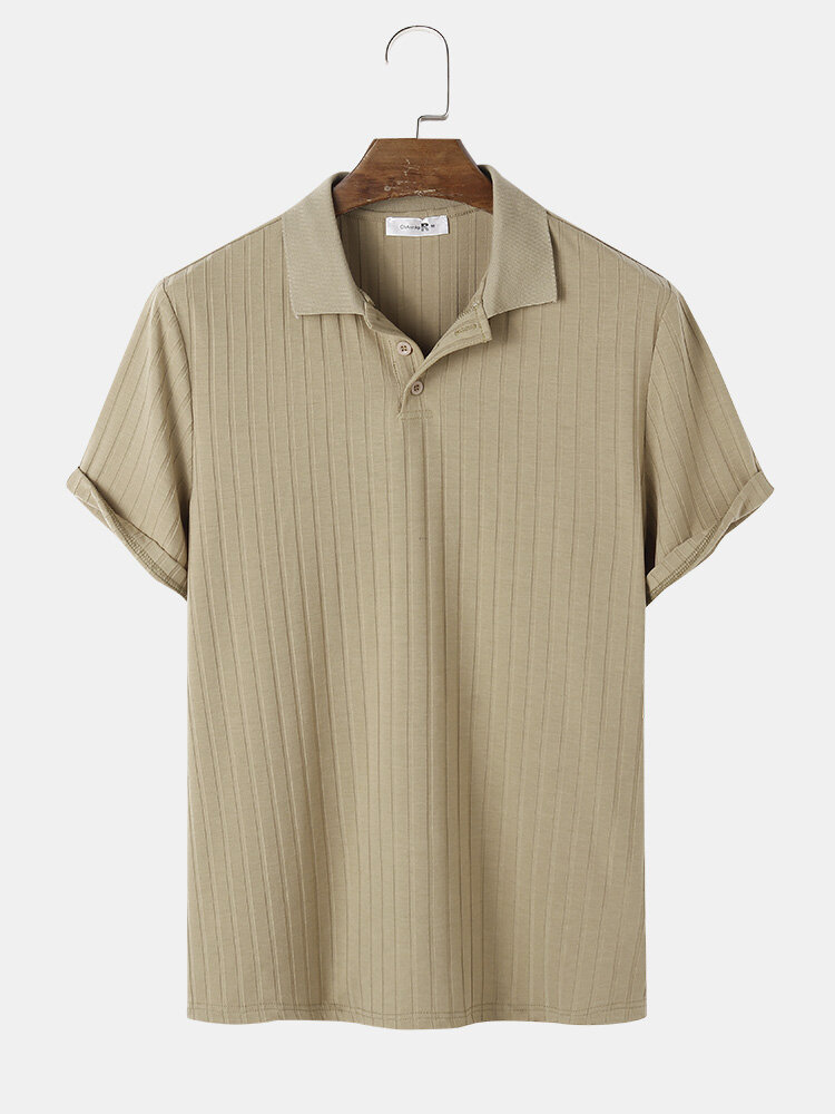 Mens Ribbed Texture Solid Color Short Sleeve Casual Golf Shirt