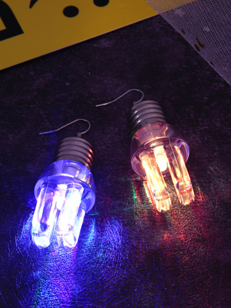 Funny LED Lamp Bulb Flashing Earrings Halloween Christmas Party Accessories Fashion Jewelry