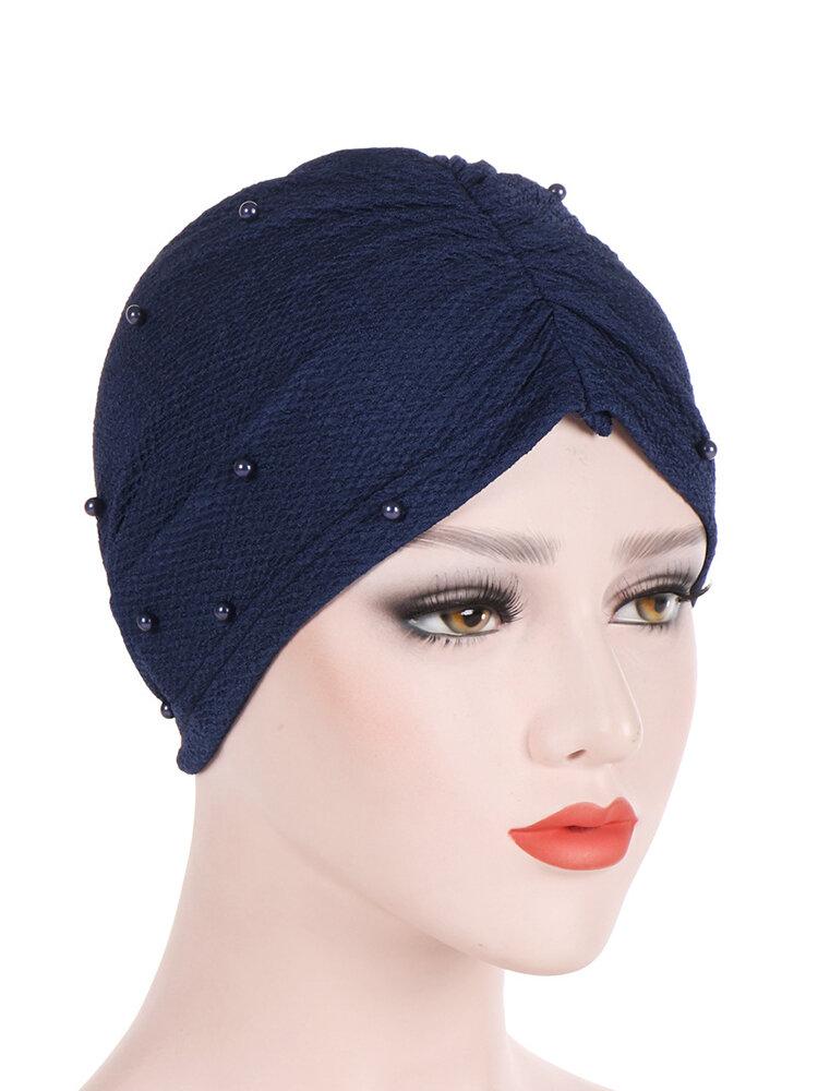 Womens Breathable Comfortable Pearl Hat Casual Elastic Beanie Hats Muslim Pile Heap Cap