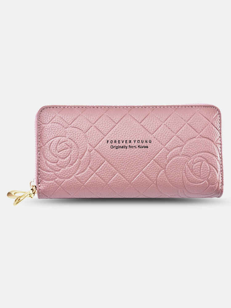 Women PU Leather Rose Floral Money Clips 6.5 Inch Phone Bag Wallet Purse