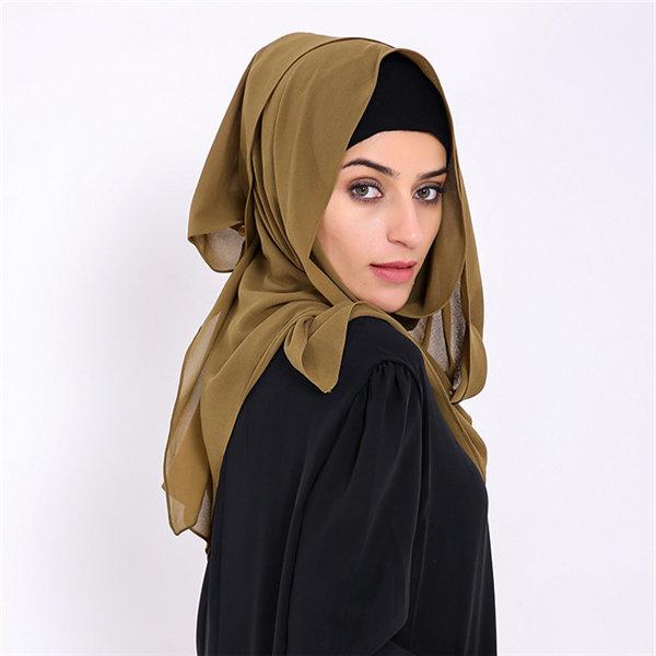 Women Muslim Chiffon Head Coverings Hijab Face-lift Solid Colors Headscarf Hat Islamic Scarf