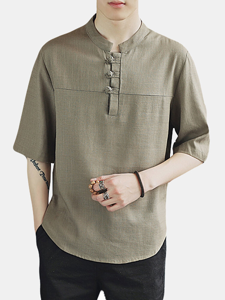 Summer Chinese Style Cotton Linen Stand Collar Solid Color Loose Casual Buttons T Shirts for Men