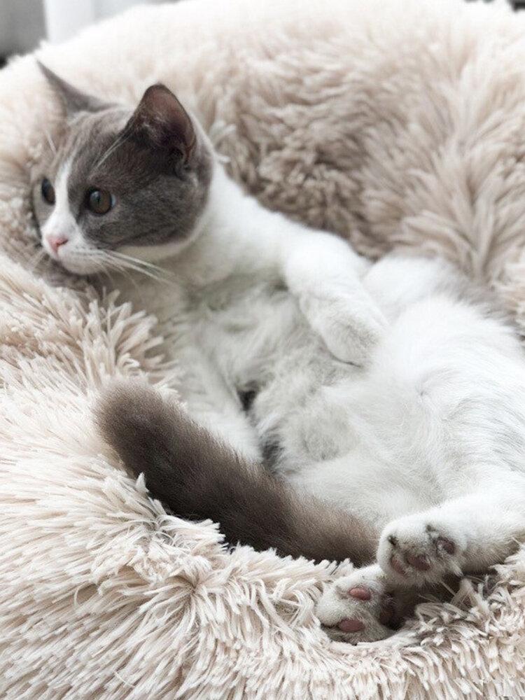 Winter Haustier Bett Warm Dog Katze Bett Long Plush Super Soft Pet Round Bed Zwinger Hund Katze Bequemes Schlafkissen
