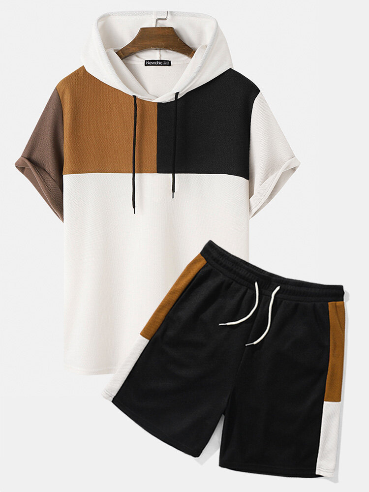 Mens Waffle Knit Color Block Patchwork Loose Short Sleeve Hooded Two Pieces Outfits