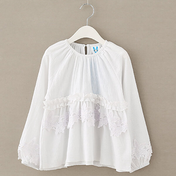 White Cotton Girls Tops Blouses Kids Clothing Flower Cutout for Spring Fall Summer