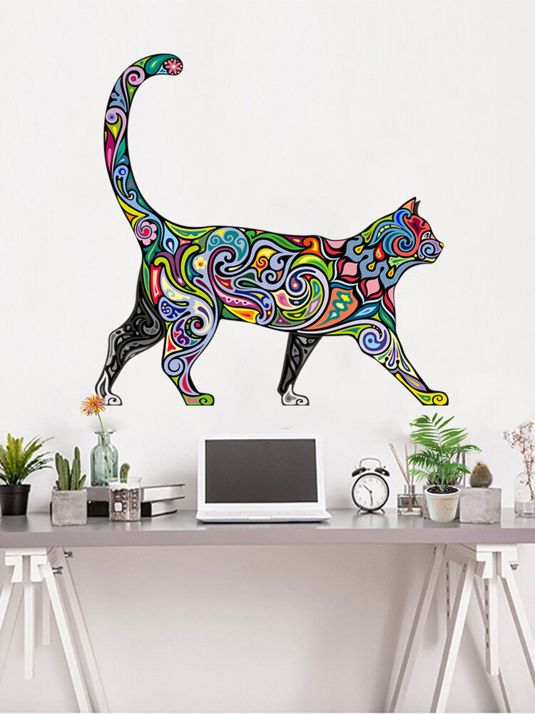 Colorful Cat Pattern Self-adhesive Bedroom Living Room Sticker Wall Art Home Decor