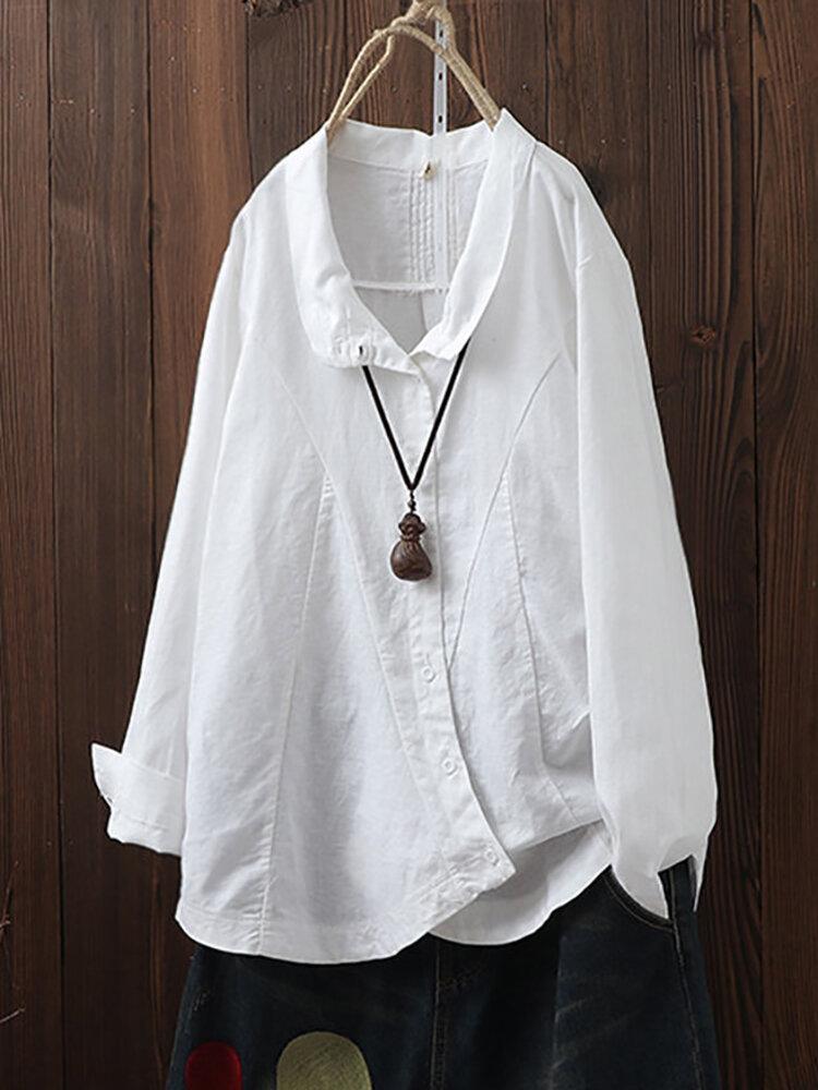 Solapa de botón irregular vintage de color sólido Plus Talla Camisa
