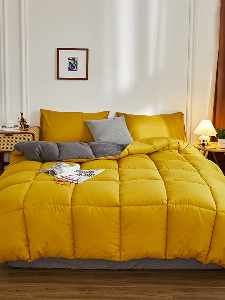 Feather Velvet Quilt Comfy Bedding Keep Warm Thickened Sanded Winter Quilt Double Washed Cotton Quilt