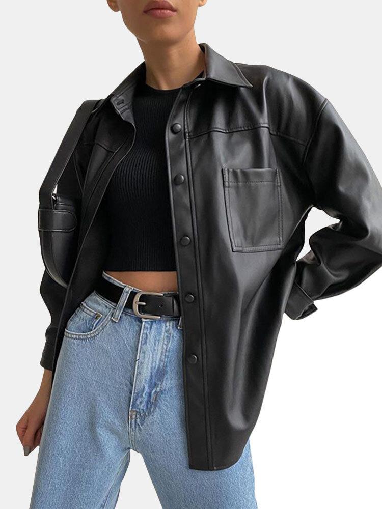 女性のための無地の長袖ラペルカラーファージャケット