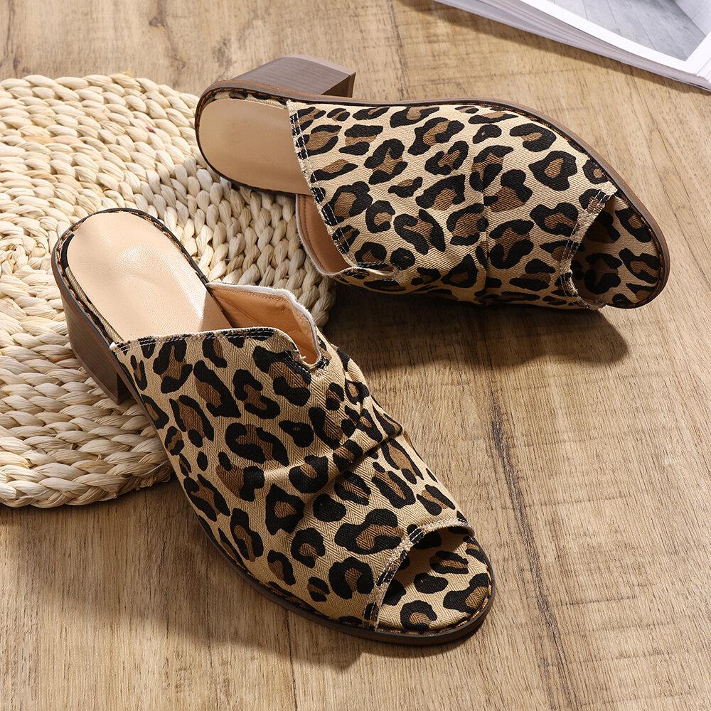Women Clothes Upper Peep Toe Low Chunky Heels