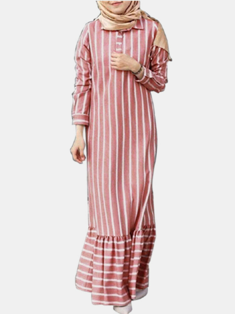 Striped Print Lapel Long Sleeve Plus Size Patchwork Dress with Button