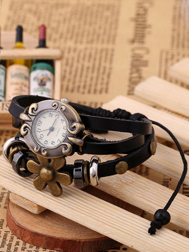 Vintage Multilayer Women Quartz Watch Flower Leather Beaded Bracelet Watch
