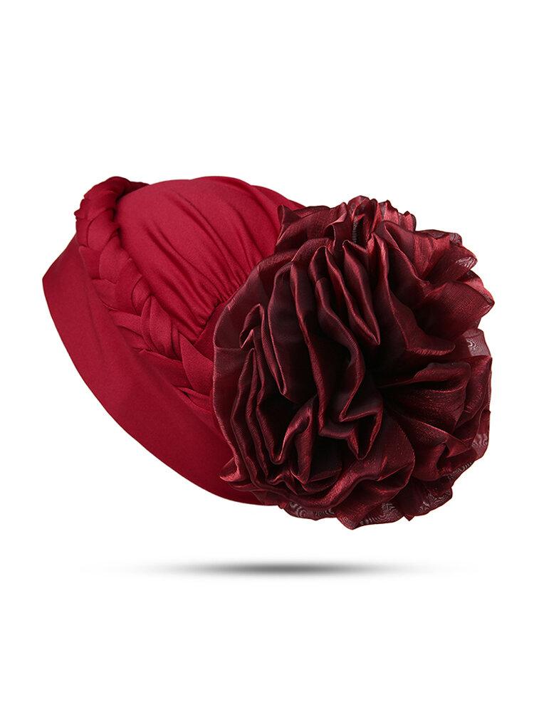 Women Solid Color Breathable Comfortable Beanie Hat Large Flower Behind Bonnet Muslim Pile Heap Cap