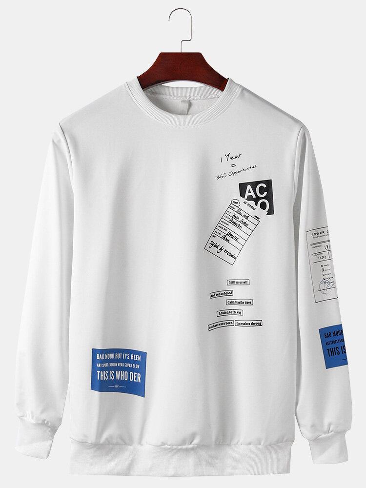 メンズグラフィックテキストバックプリントクルーネックカジュアルプルオーバースウェットシャツ