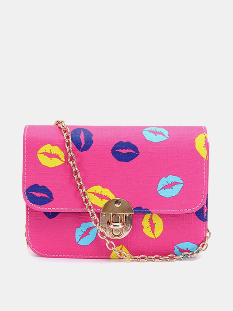 Women Casual Lip Pattern Leather Crossbody Bag Shoulder Bag