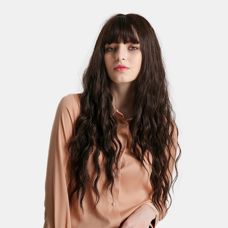 26 inch Long Water Wave Hair Women Fashion Wig with Bang Heat Resistant Synthetic Wigs