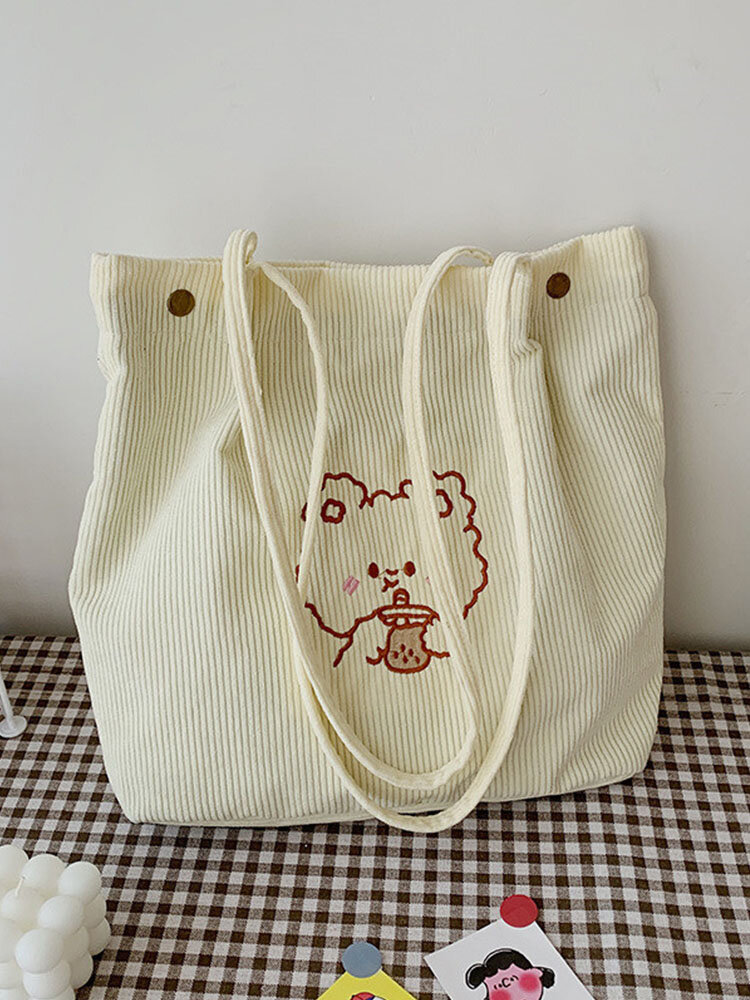 Cute Cartoon Embroidered Smooth Comfy Corduroy Tote Multi-Carry Magnetic Clasp Crossbody Bag