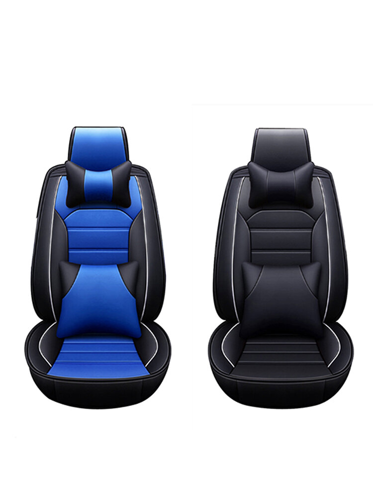 PU Leather Seat Cover Front Rear Full Set with Headrest Waist Cushion Universal for 5-Seat Car