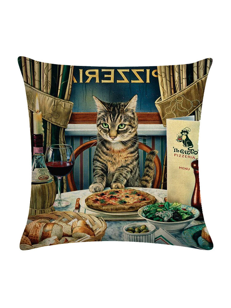 Vintage Style Persian Katze Bedruckte Leinen Kissenbezug Home Sofa Art Decor Office Kissenbezug