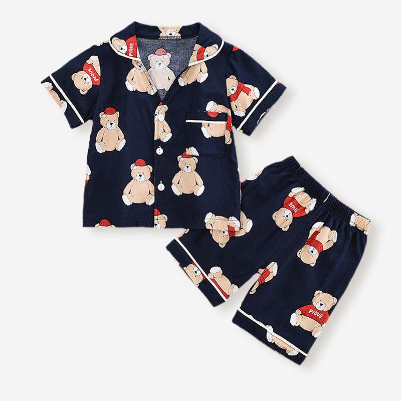 Boy's Cartoon Print Short Sleeves Turn-down Collar Casual Pajama Set For 2-8Y