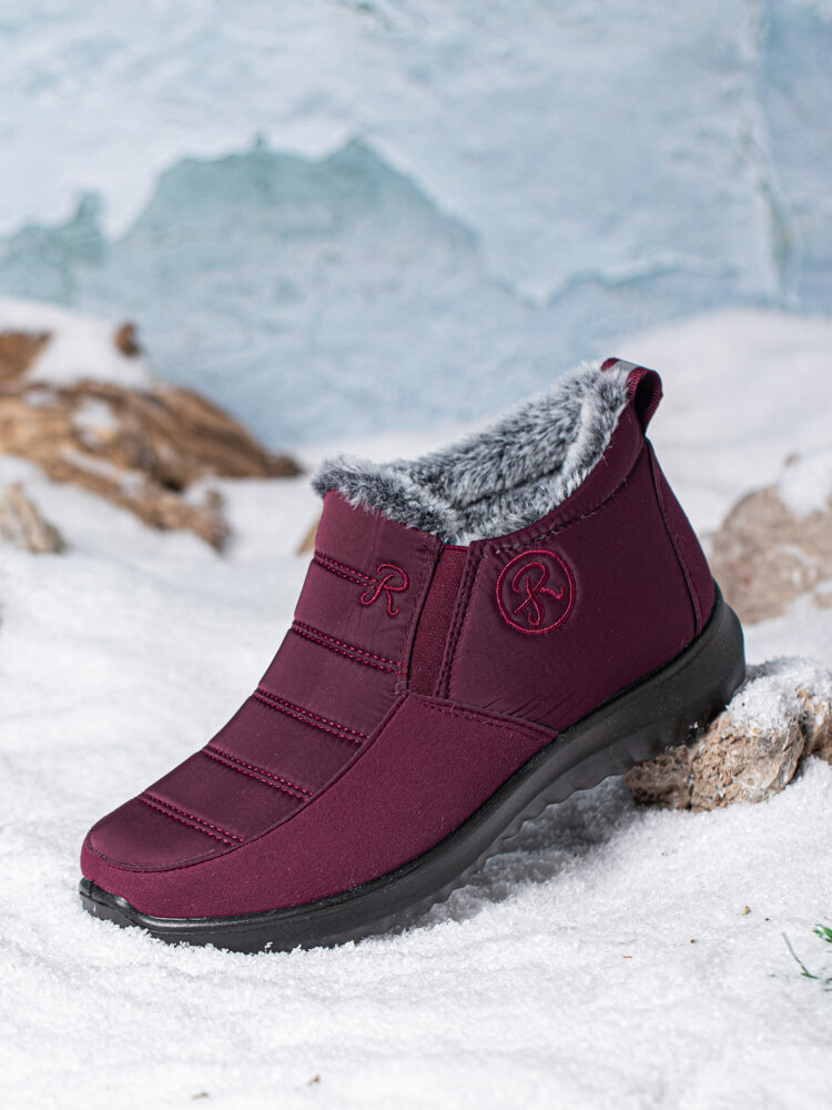 Women Snow Boots Casual Stitching Waterproof Cloth Warm Ankle Cotton Boots