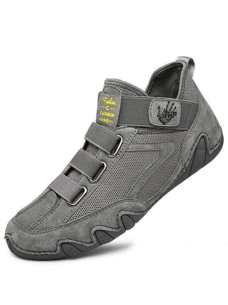 Men Pigskin Leather Splicing Mesh Fabric Comfy Breathable Elastic Hook Loop Casual Driving Shoes