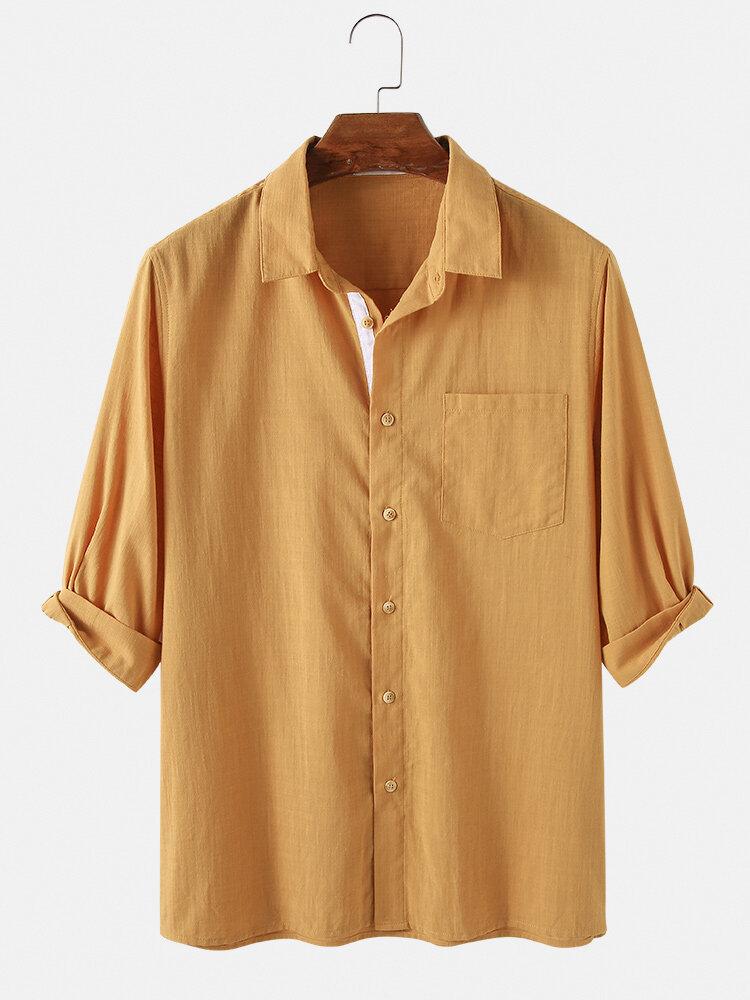 メンズコットン100%ソリッドカラークォータースリーブカジュアルシャツ