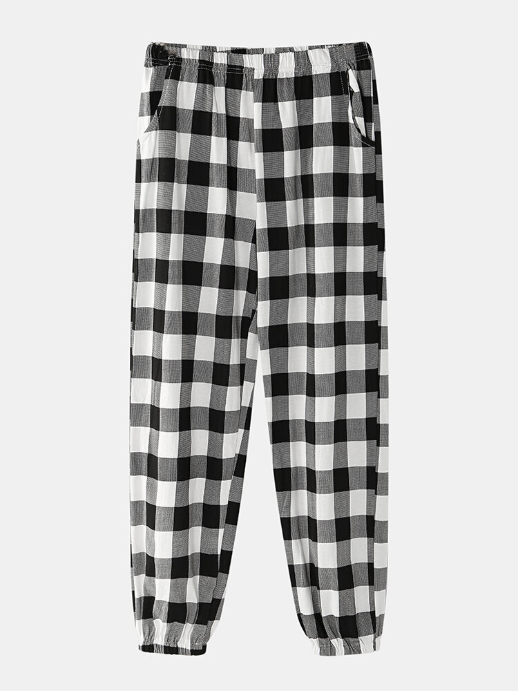 Cotton Breathable Geometric Plaid Loungewear Beam Foot Pant