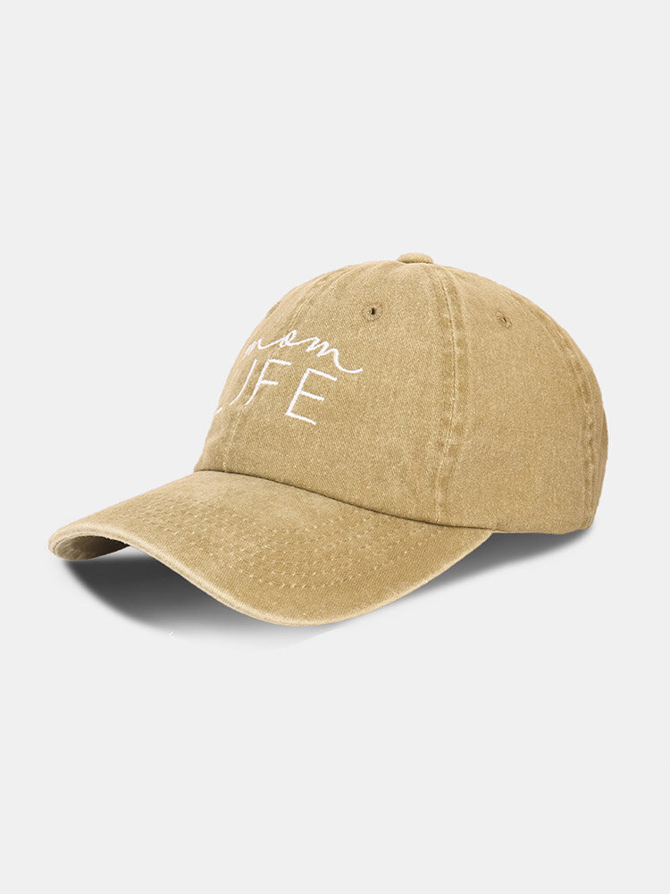 Unisex Washed Cotton Solid Color Letter Pattern Embroidered Brief Sunscreen Baseball Cap