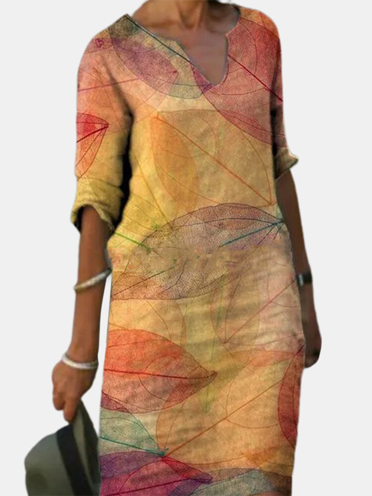 Print Colorful Loose Casual Dress For Women