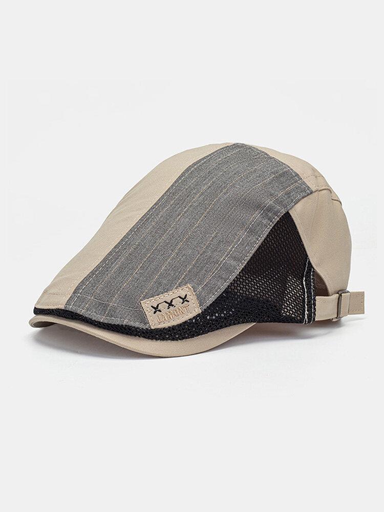 CollrownMenコットンメッシュパッチワークコントラストカラークロスラベル通気性カジュアルベレー帽フラットハット