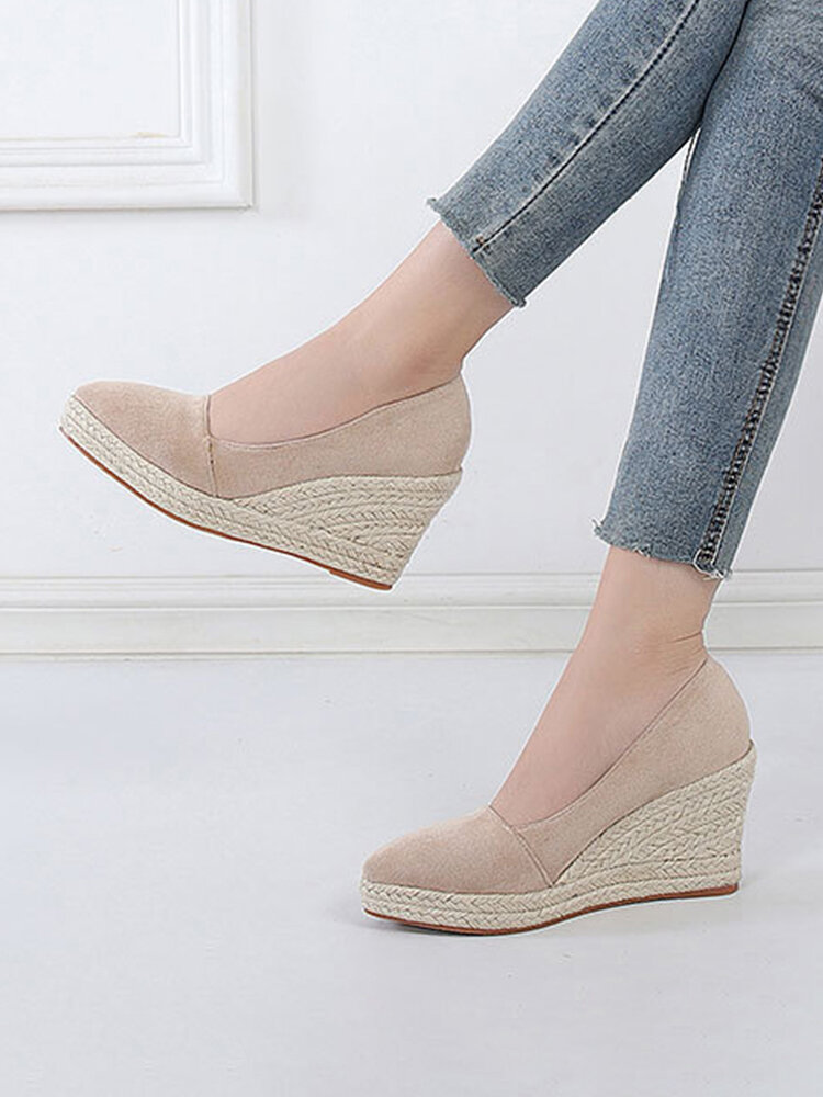 Women Casual Solid Color Hard-wearing Pointed Toe Wedges Heel Woven Espadrille Loafers Shoes