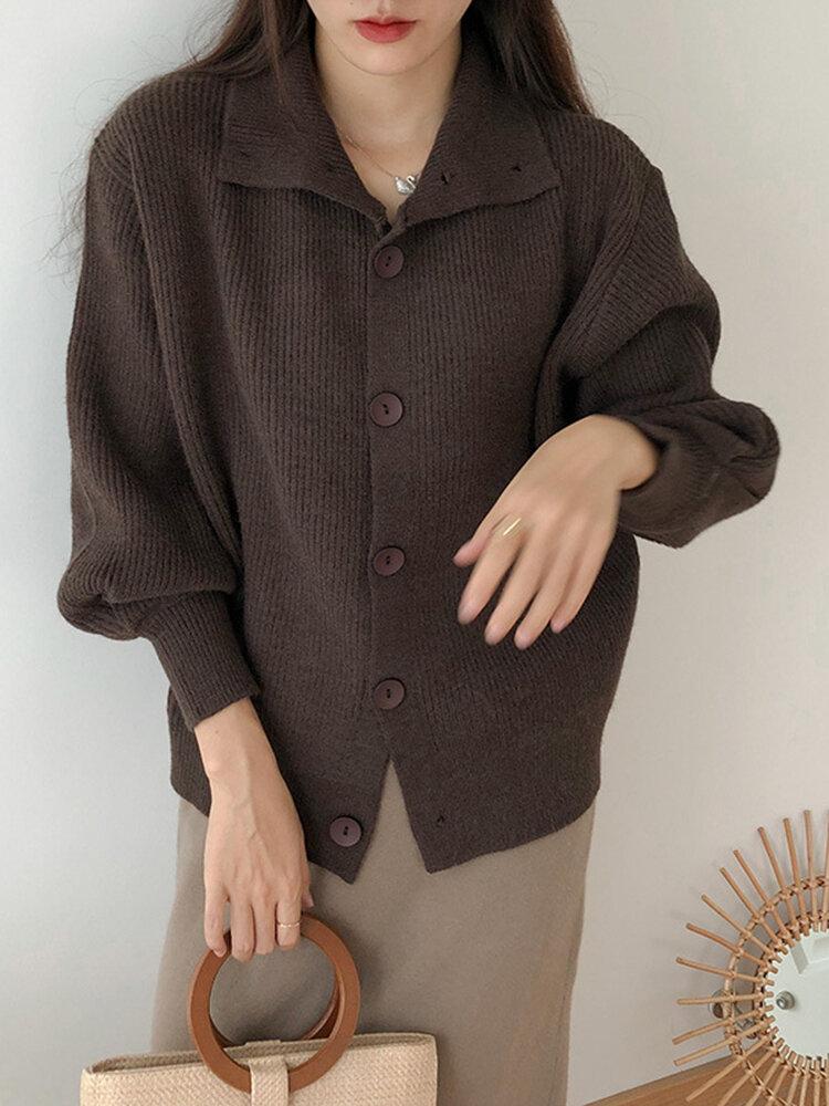 Cárdigan de manga farol con botones y cuello alto de talla grande