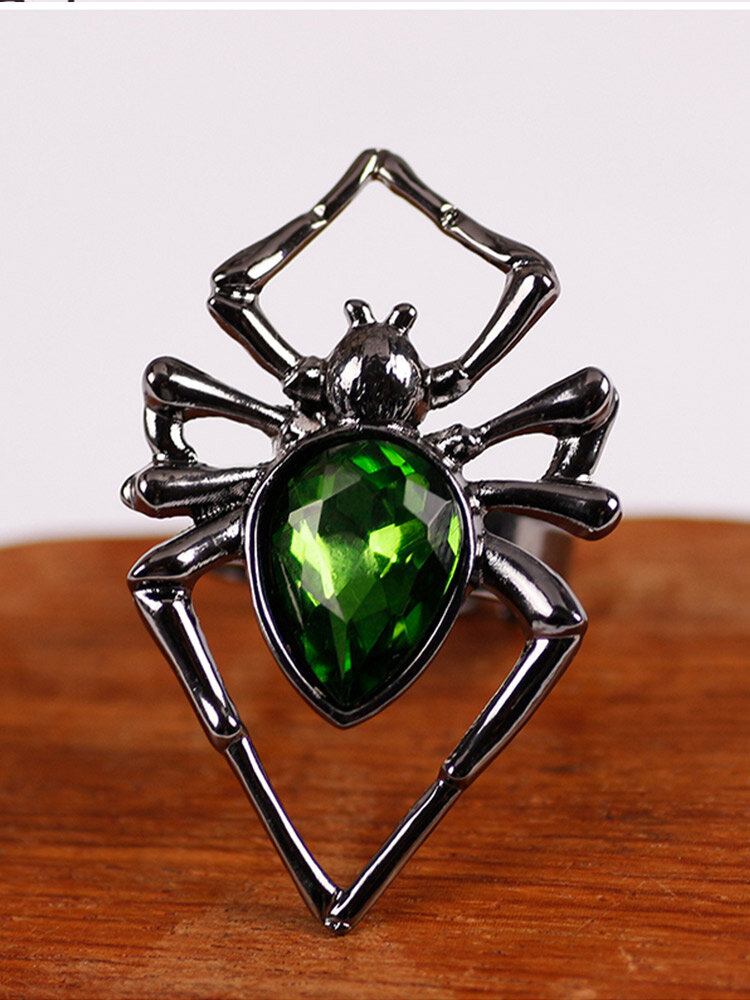 Halloween Trendy Hollow Spider-shaped Inlaid Artificial Gems Opening Adjustable Alloy Ring