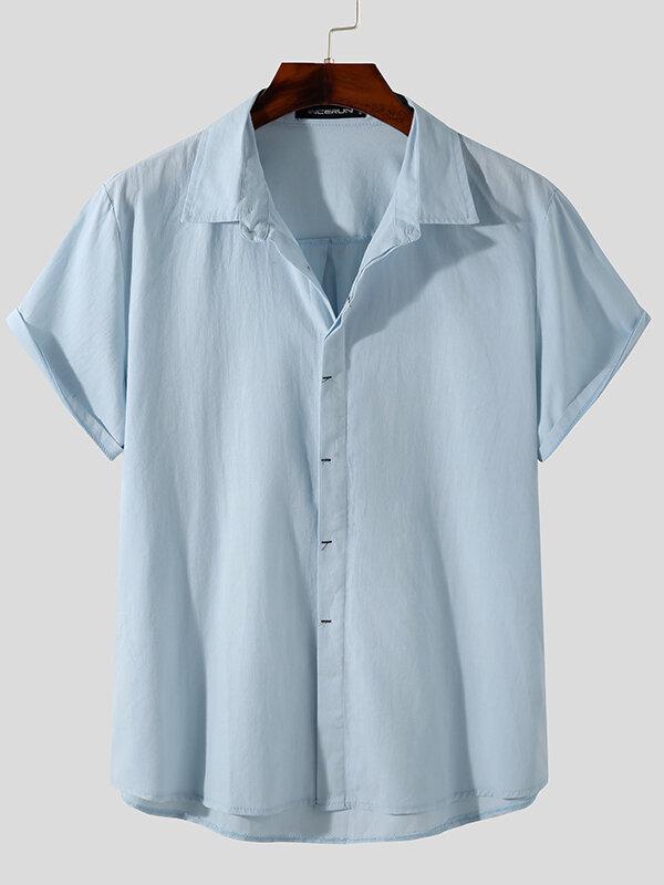 Plus Size Mens Cotton Solid Concealed Placket Plain Casual Short Sleeve Shirts