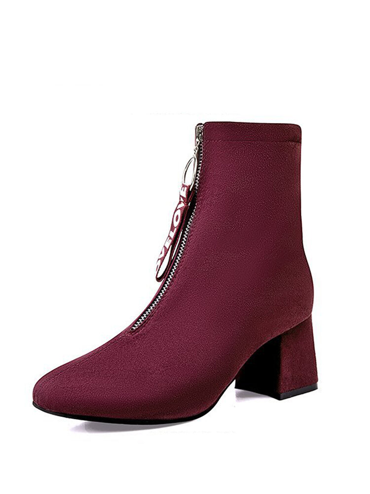 Plus Size Women Warm Lining Suede Pointed Toe Front Zipper Chunky Heel Boots
