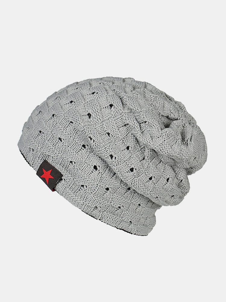 Mens Winter Five Star Warm Solid Knitted Stripe Hat Skullies Beanie Hat Ear Protection Windproof Cap