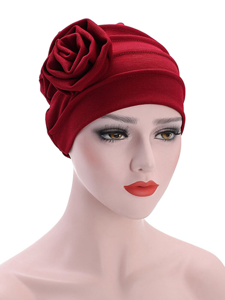 Women's Hats Side Large Flower Turban Beanies Cap Casual Warm Head Wrap Chemo Hats For Women