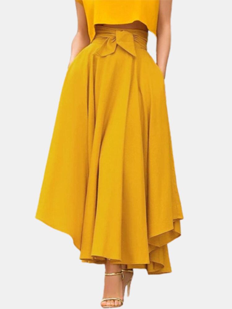 تنورة سادة اللون بأربطة بسحاب جانبي غير متناظرة