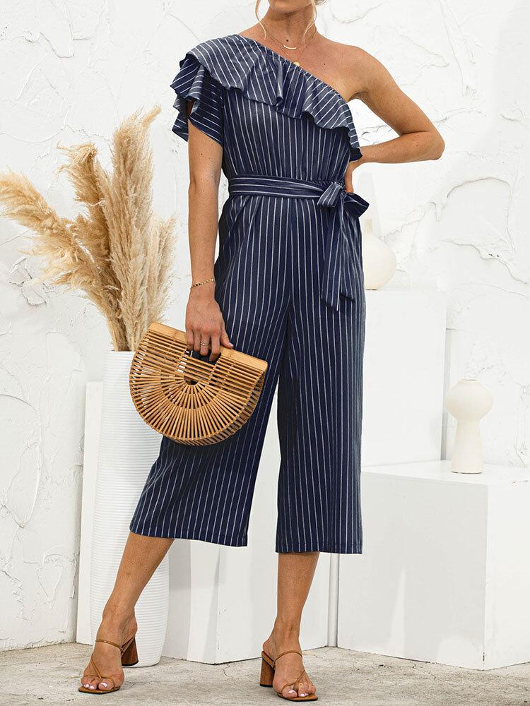 One Shoulder Ruffle Layered Stripe Print Tie-up Waist Jumpsuit