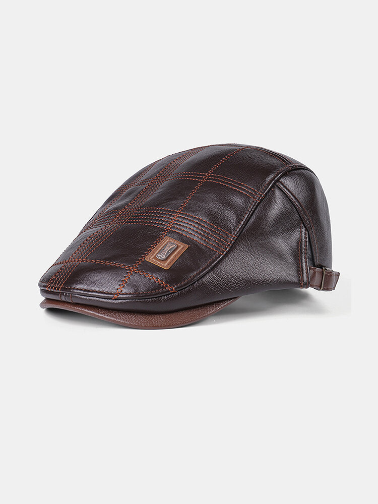 Collrown Men Faux Leather Stripe Pattern Beret Hat Vintage Solid Color Forward Hat Flat Hat